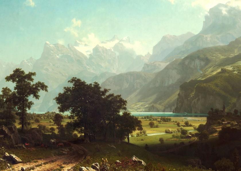 Kunstkaarten - Kunstkaart van Albert Bierstadt. Amerikaans landschap