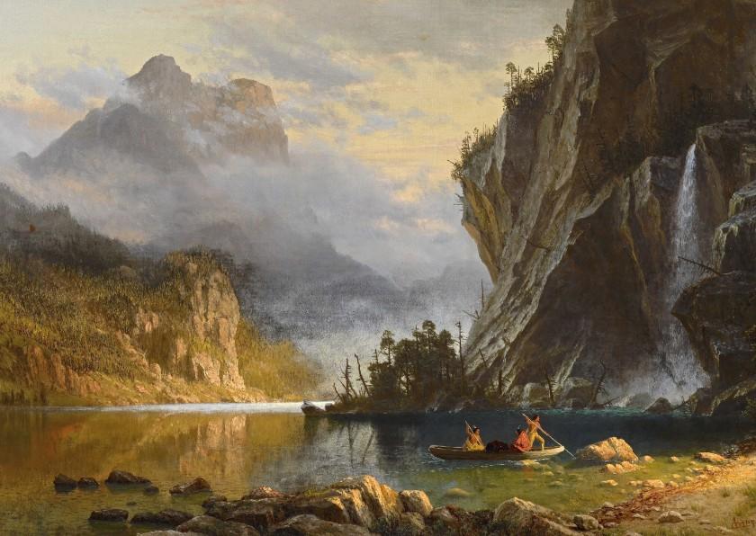 Kunstkaarten - Kunstkaart van Albert Bierstadt. Een Amerikaans landschap