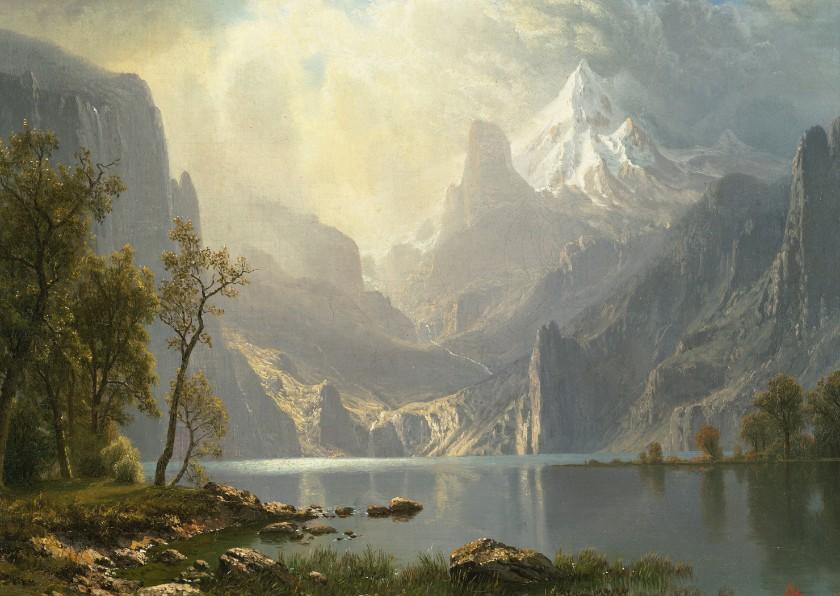 Kunstkaarten - Kunstkaart van Albert Bierstadt. Meer in de bergen