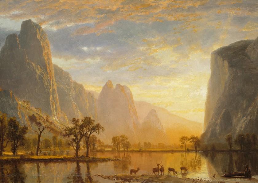 Kunstkaarten - Kunstkaart van Albert Bierstadt. Vallei bij zonsondergang