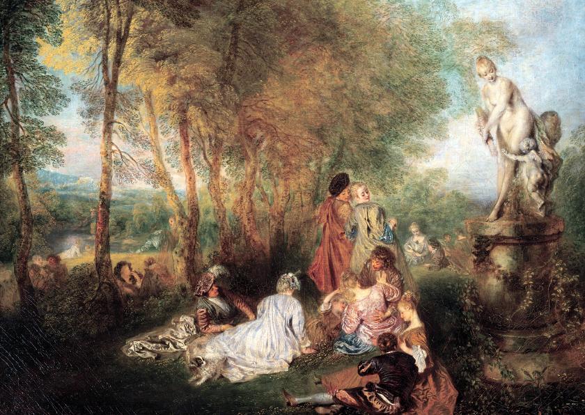 Kunstkaarten - Kunstkaart van Antoine Watteau. Feest