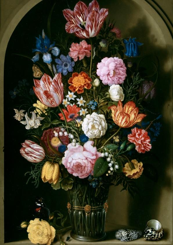 Kunstkaarten - Kunstkaart van Bosschaert. Boeket bloemen
