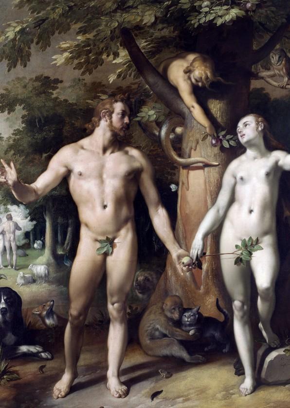 Kunstkaarten - Kunstkaart van Cornelis van Haarlem. De zondeval