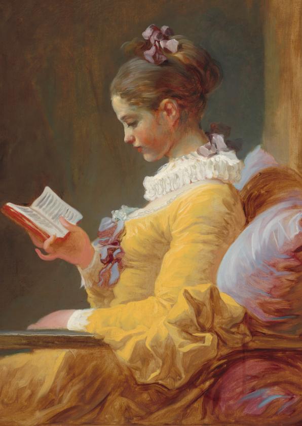 Kunstkaarten - Kunstkaart van Francois Fragonard. De Lezeres