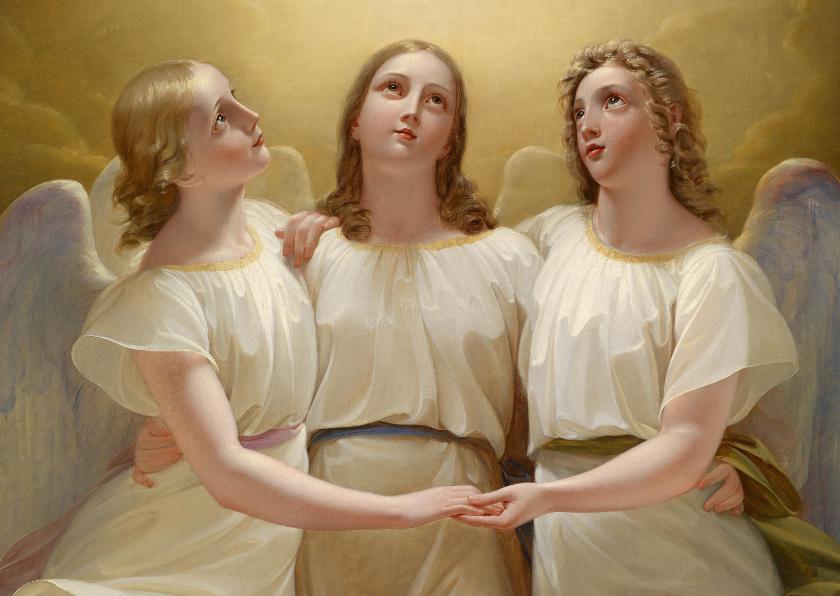 Kunstkaarten - kunstkaart van Franz Kadlik. Drie engelen