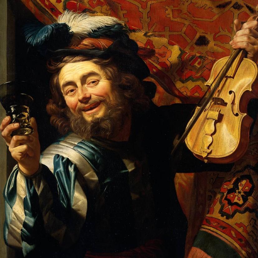 Kunstkaarten - Kunstkaart van Gerrit van Honthorst. De vrolijke speelman