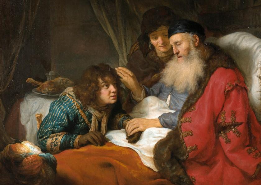 Kunstkaarten - Kunstkaart van Govert Flinck. Isaak zegent Jakob