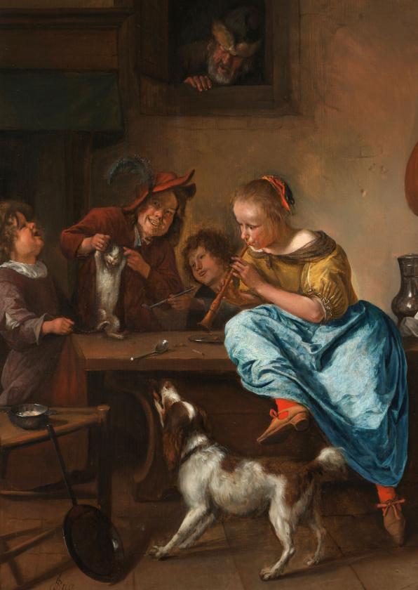 Kunstkaarten - Kunstkaart van Jan Steen. De dansles