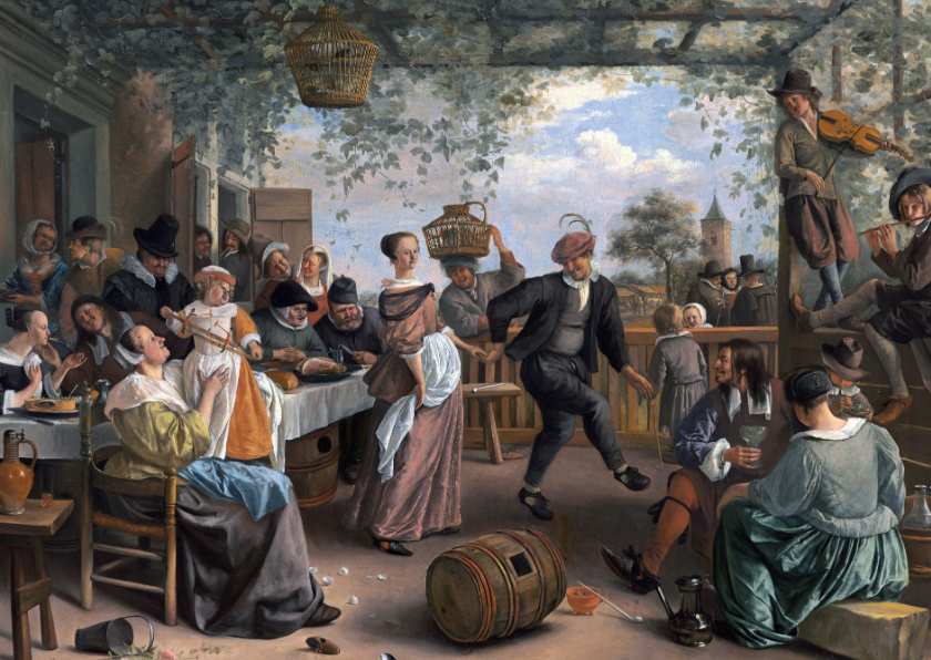 Kunstkaarten - Kunstkaart van Jan Steen. Het dansende stel