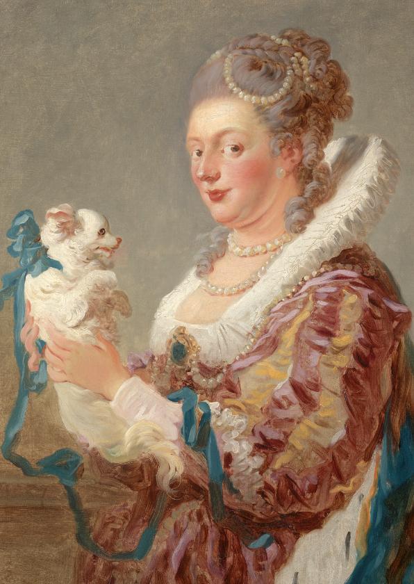 Kunstkaarten - Kunstkaart van Jean Honoré Fragonard. Vrouw met hond