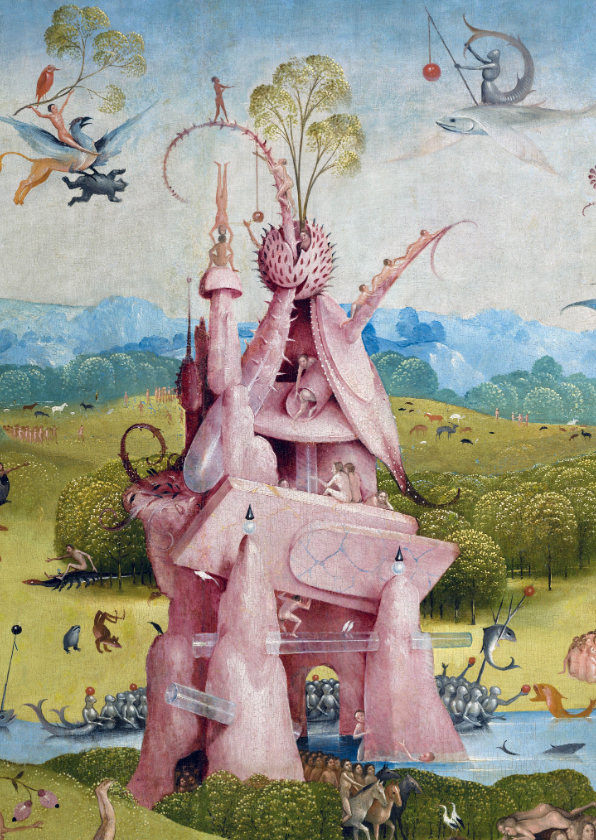 Kunstkaarten - Kunstkaart van Jeroen Bosch. Architectuurfantasie