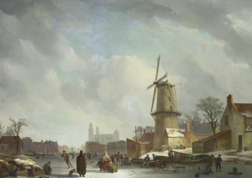 Kunstkaarten - kunstkaart van Johannes Couwenberg. IJsvermaak