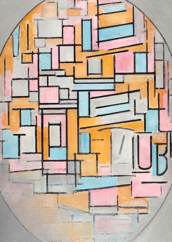Kunstkaarten - Kunstkaart van Piet Mondriaan. Compositie in ovaal met kleur