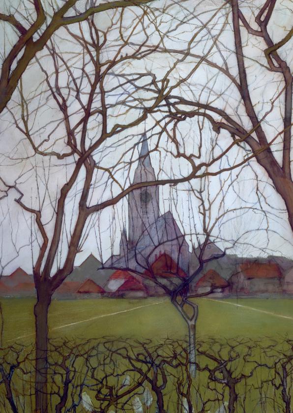 Kunstkaarten - Kunstkaart van Piet Mondriaan. Kerk in Winterswijk