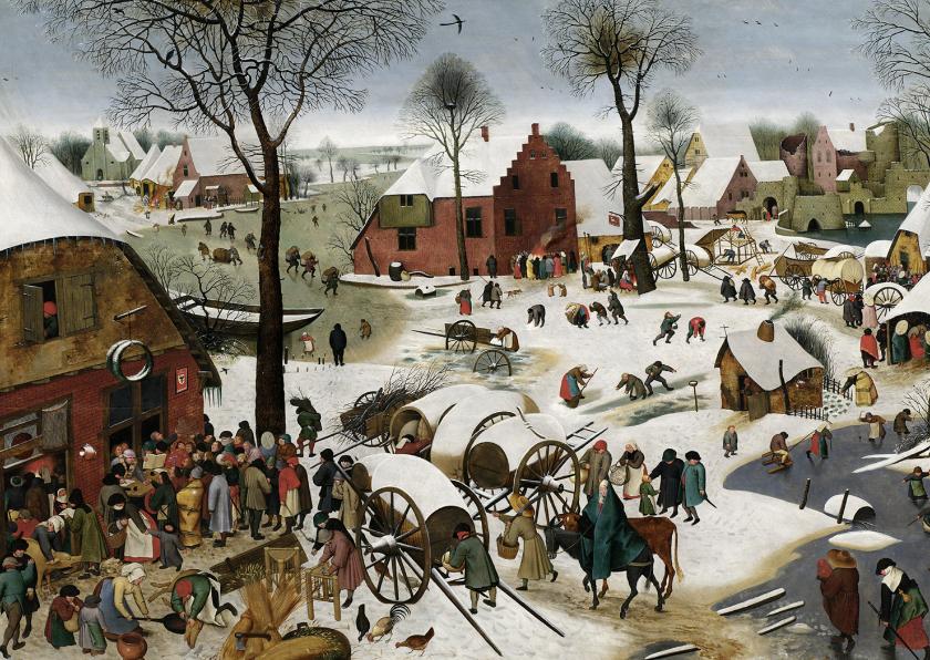 Kunstkaarten - Kunstkaart van Pieter Breughel. De volkstelling te Bethlehem