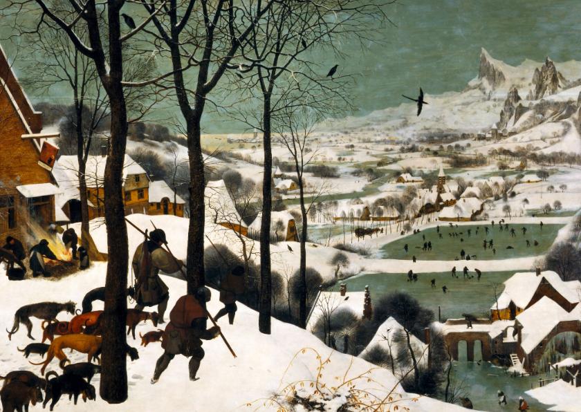 Kunstkaarten - Kunstkaart van Pieter Bruegel de Oude. Jagers in de sneeuw