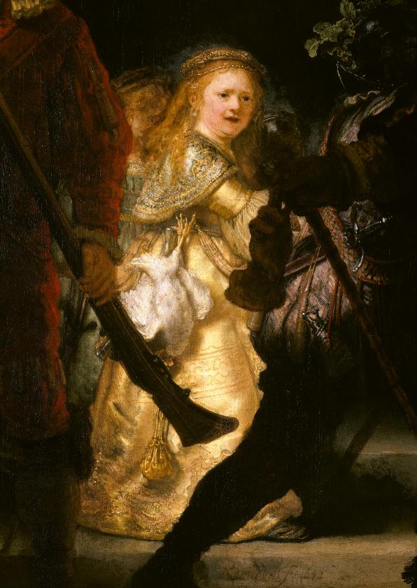 Kunstkaarten - Kunstkaart van Rembrandt van Rijn. De nachtwacht (detail)