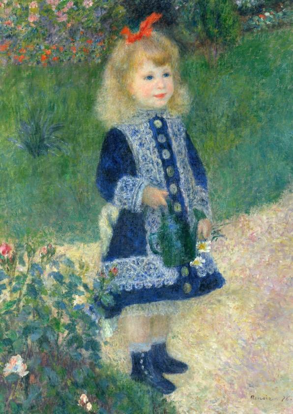 Kunstkaarten - Kunstkaart van Renoir. Meisje met een bloemengieter