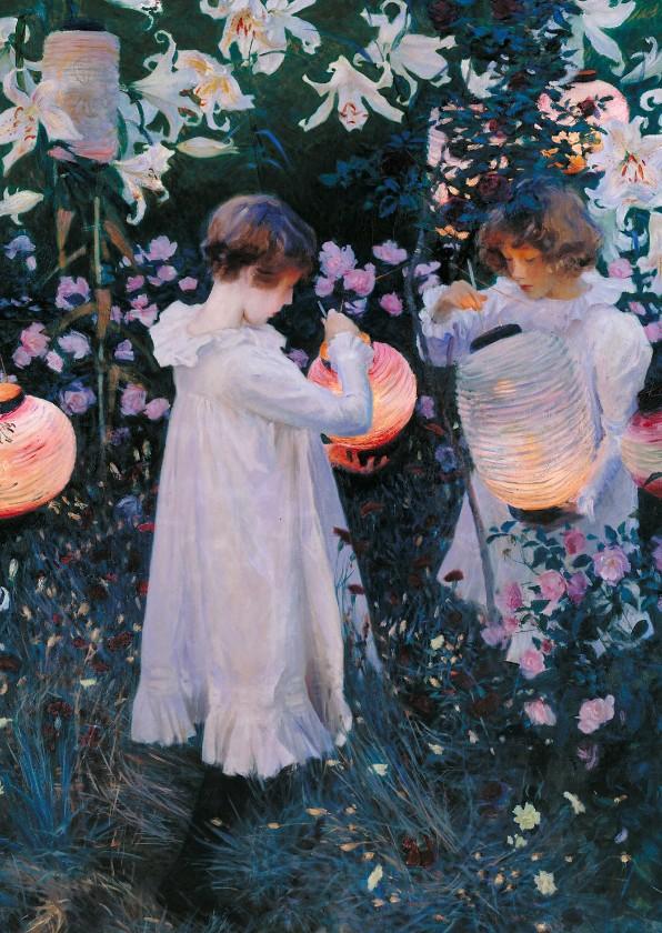 Kunstkaarten - Kunstkaart van Singer Sargent. Kinderen met lampionnen