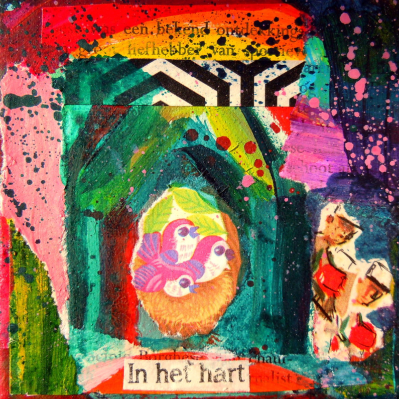 Kunstkaarten - Kunstkaart veilig warm nest IW
