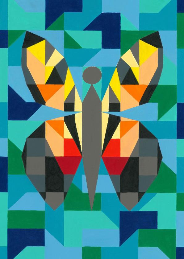 Kunstkaarten - Kunstkaart - Vlinder blauw
