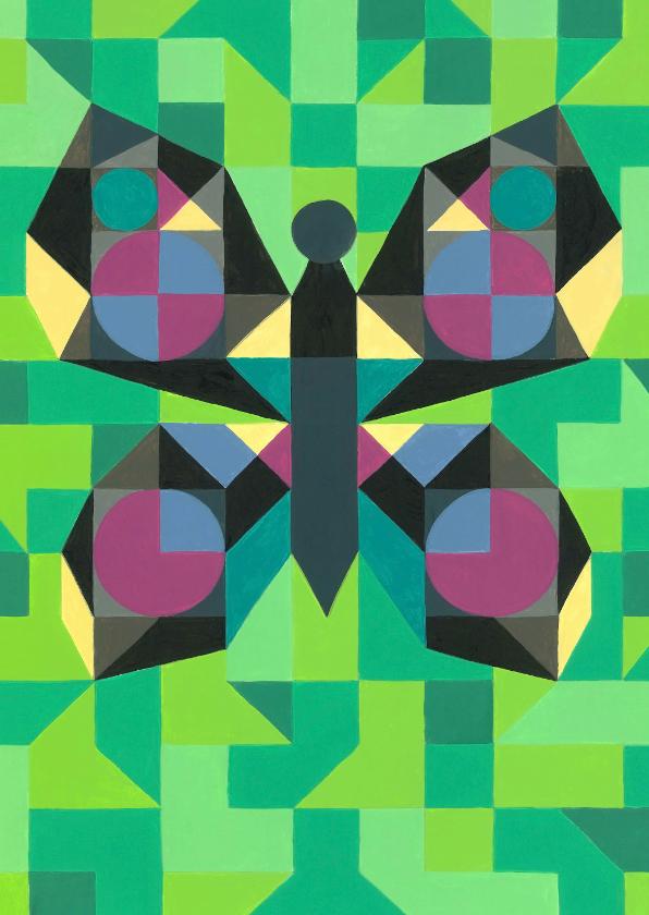 Kunstkaarten - Kunstkaart - Vlinder groen