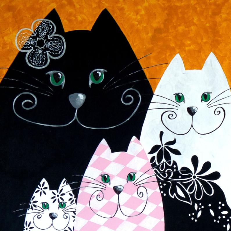 Kunstkaarten - Kunstkaart Zwart Roze katten