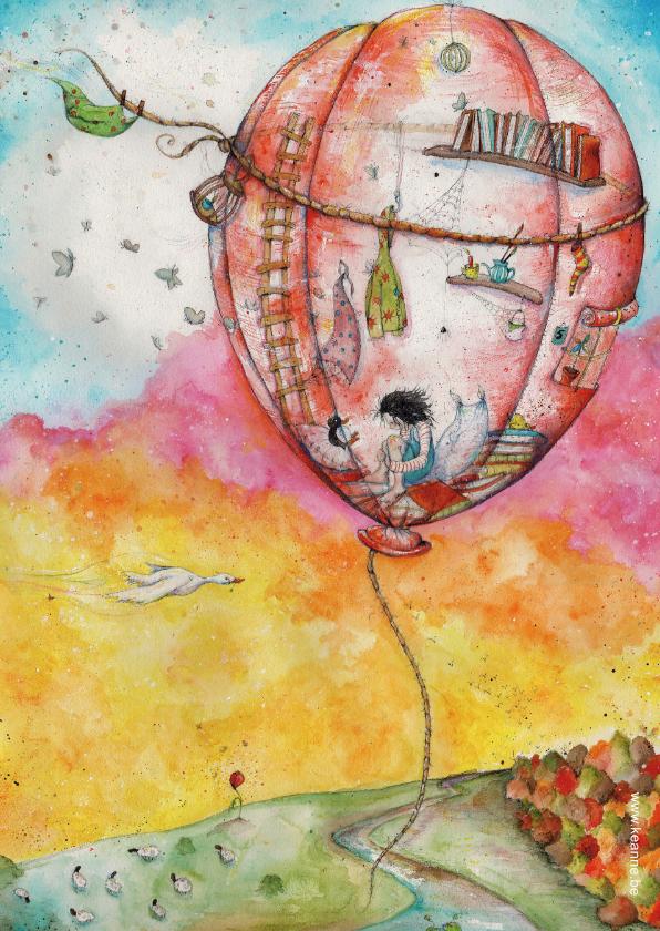 Kunstkaarten - Verhuisbericht en nieuwe woning luchtballon