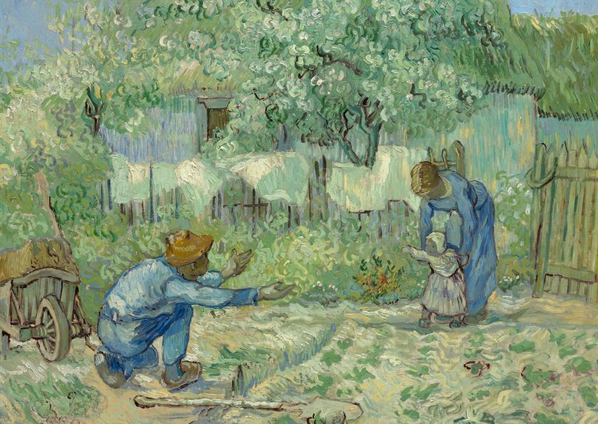 Kunstkaarten - Vincent van Gogh. Ouders met kind in een tuin