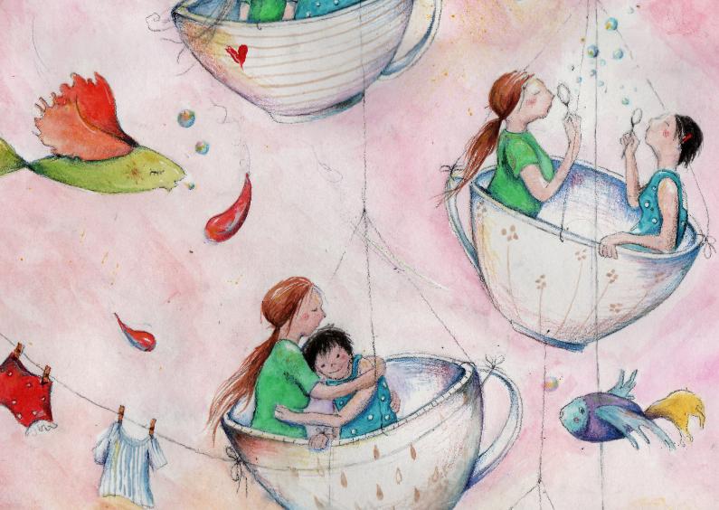 Kunstkaarten - Vriendschapskaart in het zelfde theekopje
