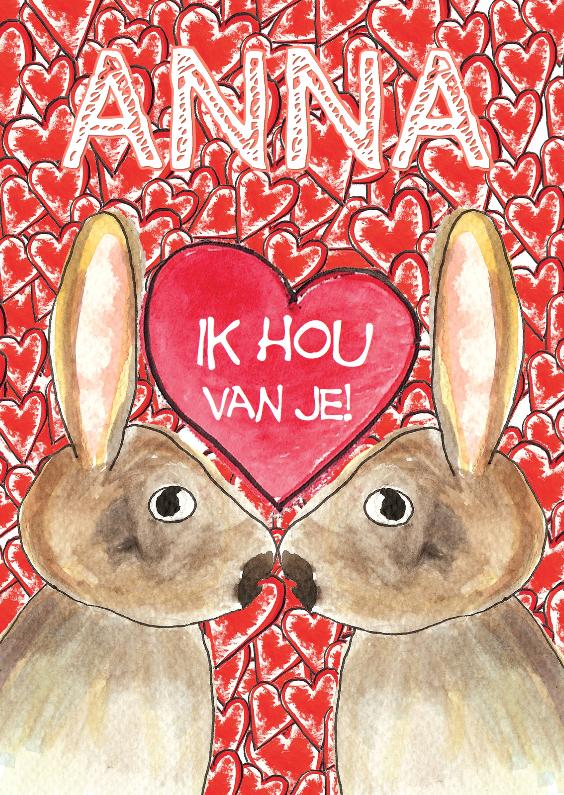 Liefde kaarten - 2 verliefde konijnen met hart