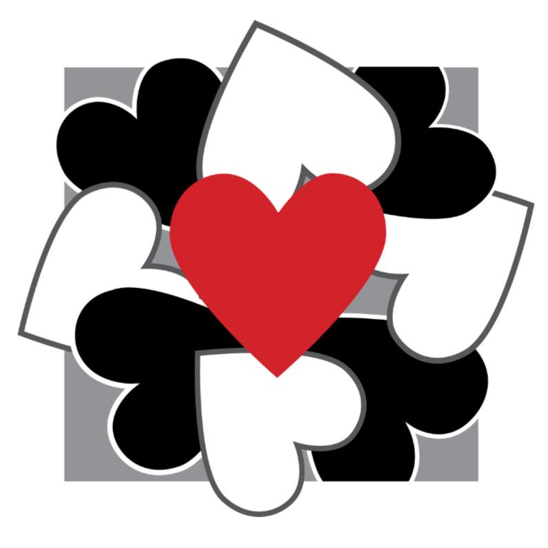 Liefde kaarten - 4k Hartjesserie rood-zwart-wit 2van6