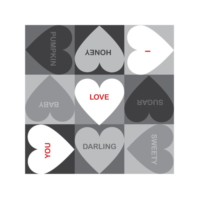 Liefde kaarten - 4k Hartjesserie rood-zwart-wit 3van6