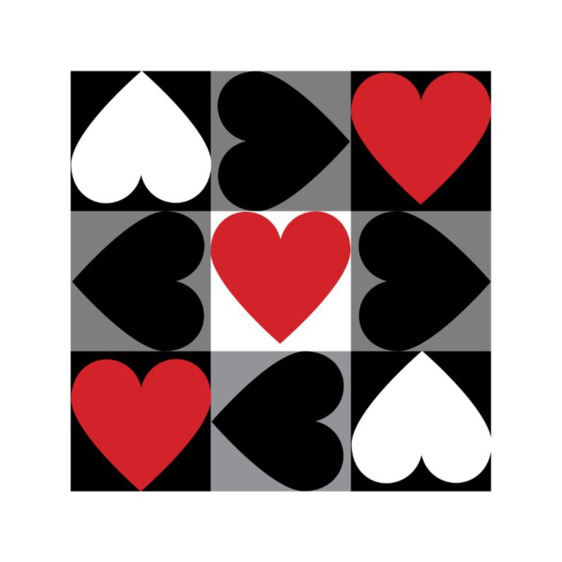 Liefde kaarten - 4k Hartjesserie rood-zwart-wit 5van6