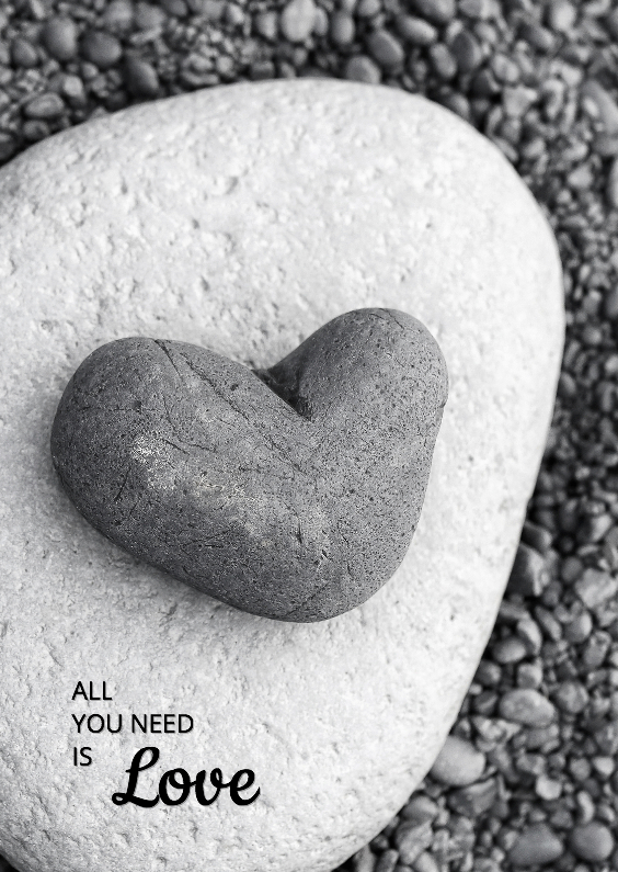 Liefde kaarten - All you need is LOVE in steen