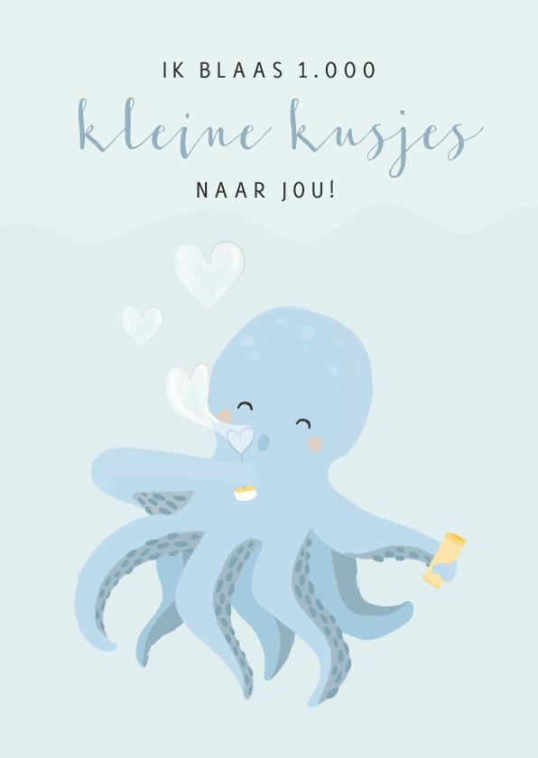 Liefde kaarten - Blauwe liefde kaart voor een jongen met octopus