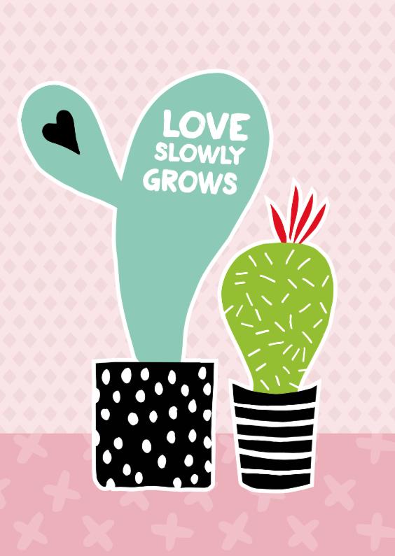 """Liefde kaarten - Cactissimo """"Love slowly grows"""""""