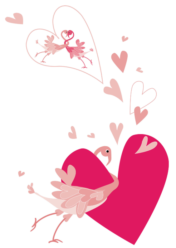 Liefde kaarten - Flamingo is verliefd