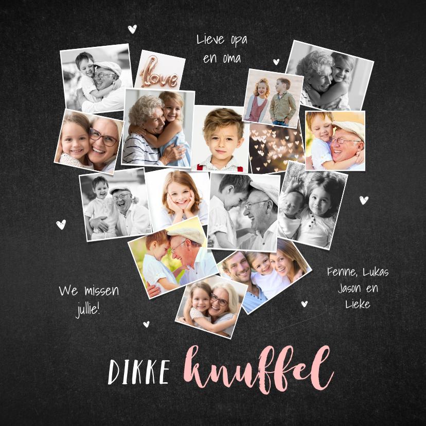 Liefde kaarten - fotokaart collage hart krijt dikke knuffel ik mis je