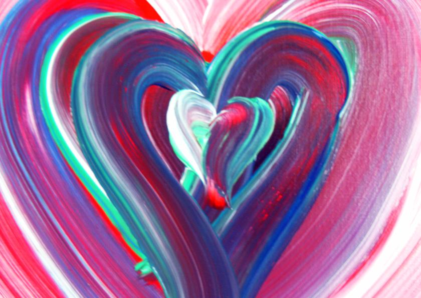 Liefde kaarten - Geschilderd hart