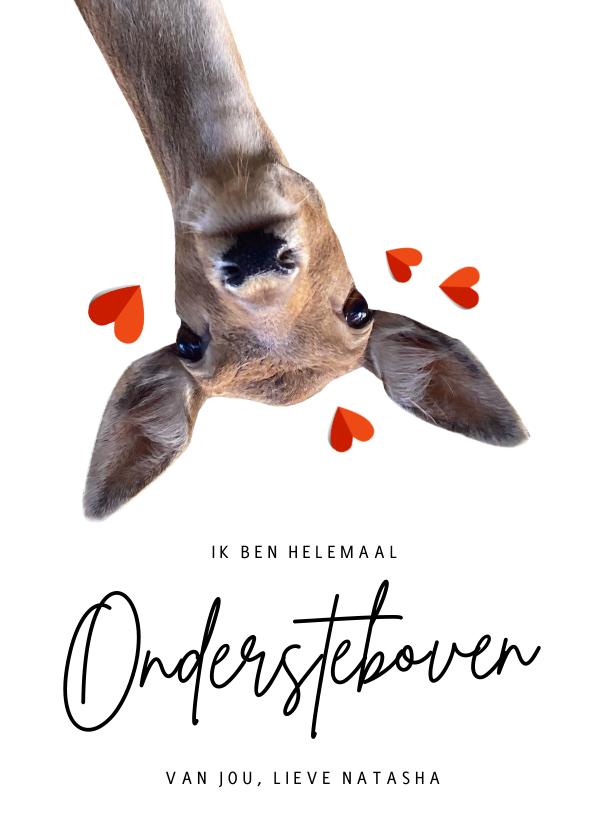 Liefde kaarten - Grappige liefdeskaart met hert - ondersteboven van jou