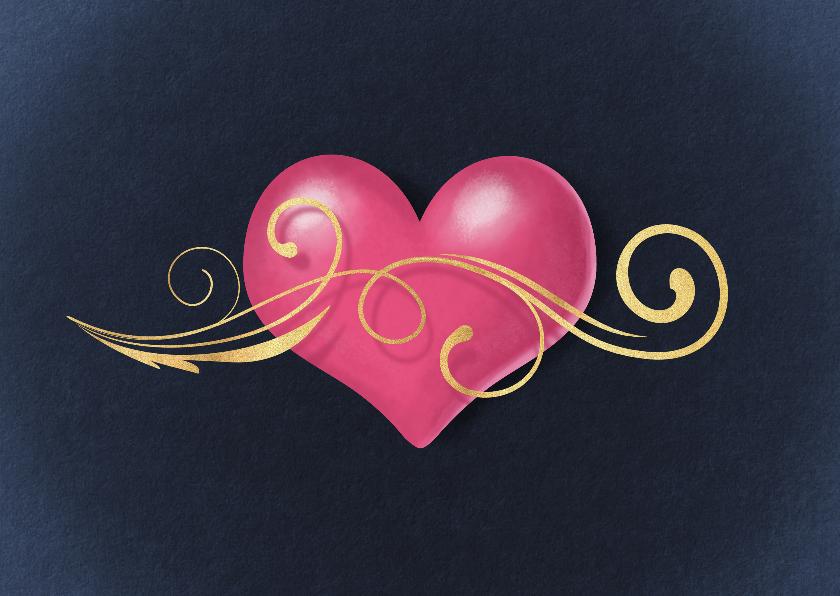 Liefde kaarten - Hart met gouden krul liefde kaart