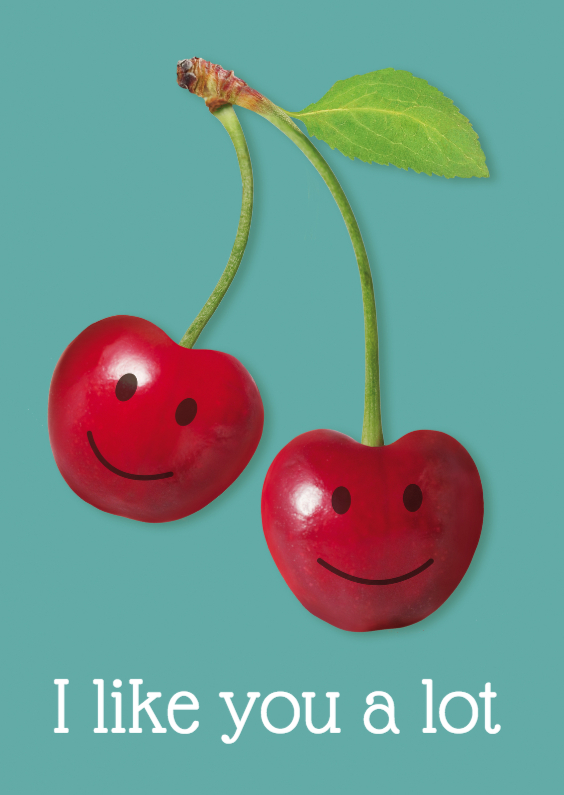 Liefde kaarten - I like you a lot cherries