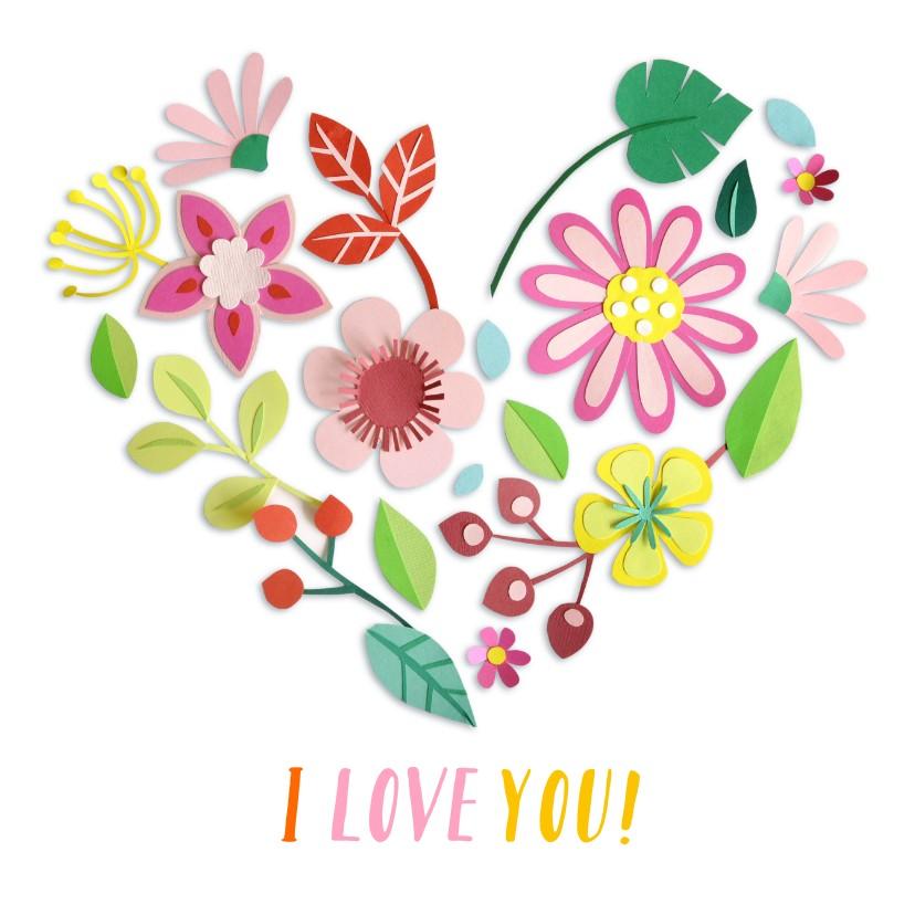 Liefde kaarten - I love you bloemenhart