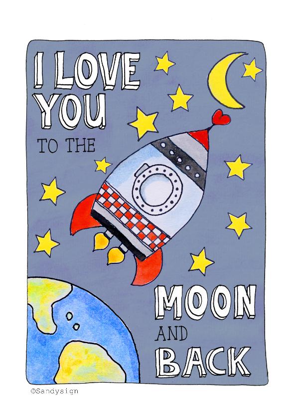 Liefde kaarten - I love You to the Moon Back Raket - SD
