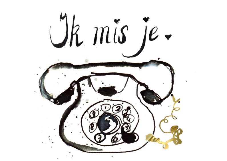 Liefde kaarten - ik mis je met telefoon