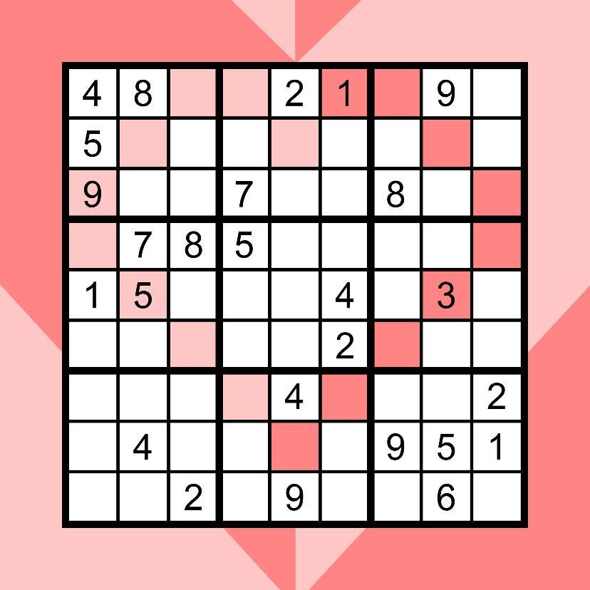 Liefde kaarten - Kaart met sudoku in hartvorm en hart in roze