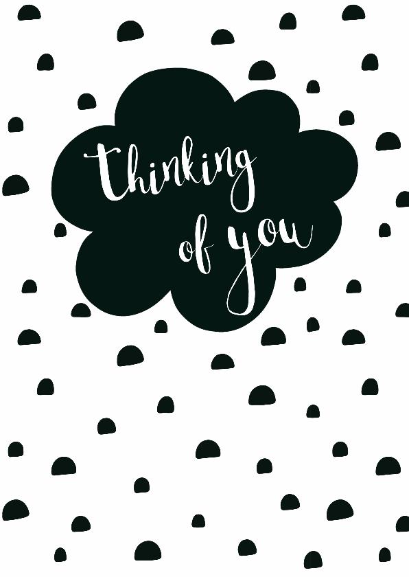 "Liefde kaarten - Kaart zwartwit ""thinking of you"" - WW"