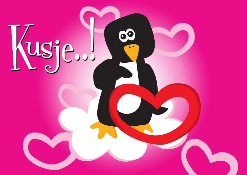 Liefde kaarten - Kusje pinguin-LH
