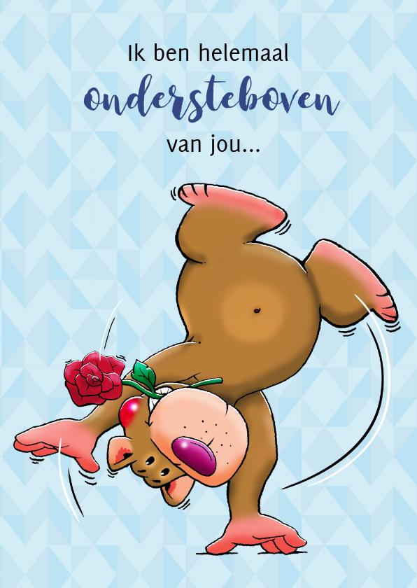 Liefde kaarten - Leuke liefde kaart knuffelbeertje ondersteboven met roos